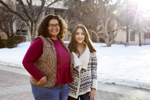 Peer Mentor and mentee pose for photo on CSU Campus.