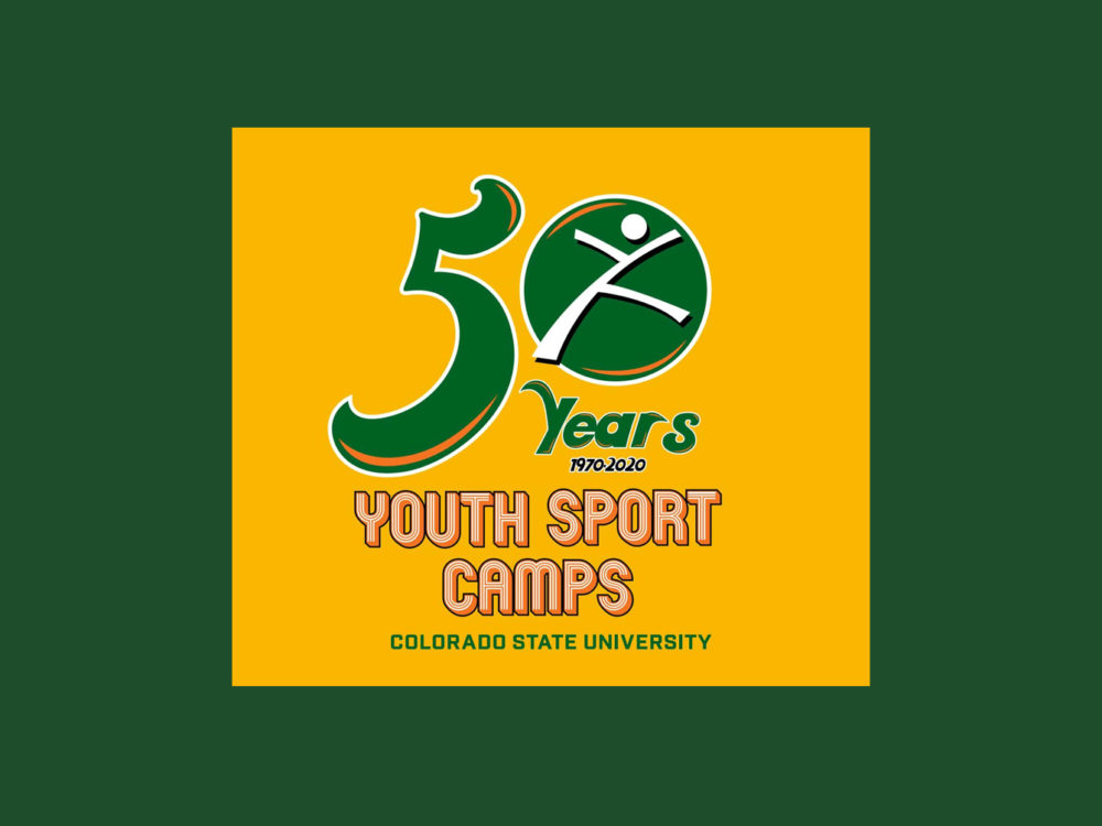 youth sport camps 50th year anniversary logo from 1970-2020