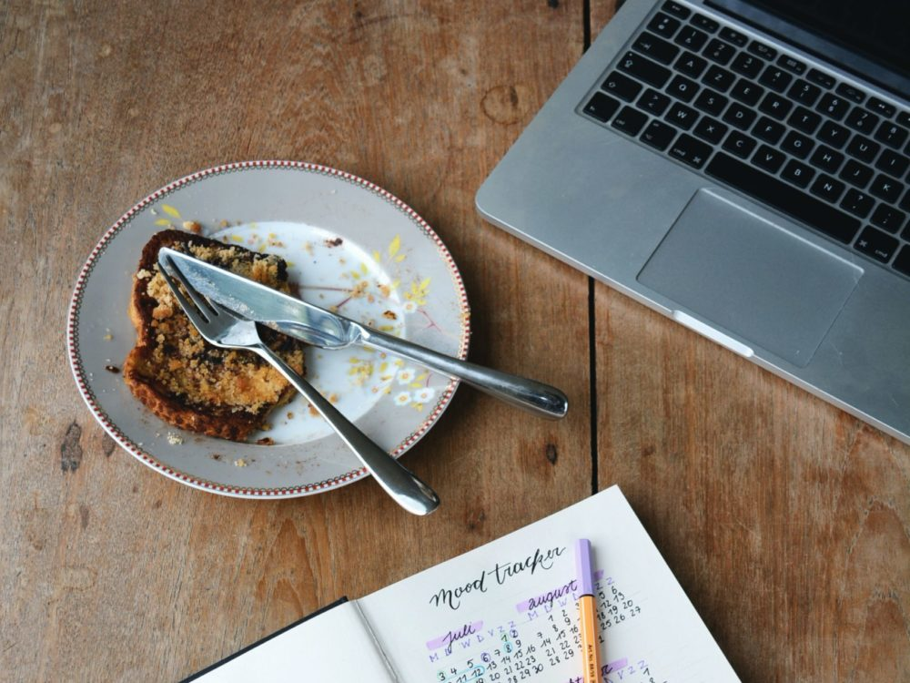journal, plate of food, laptop