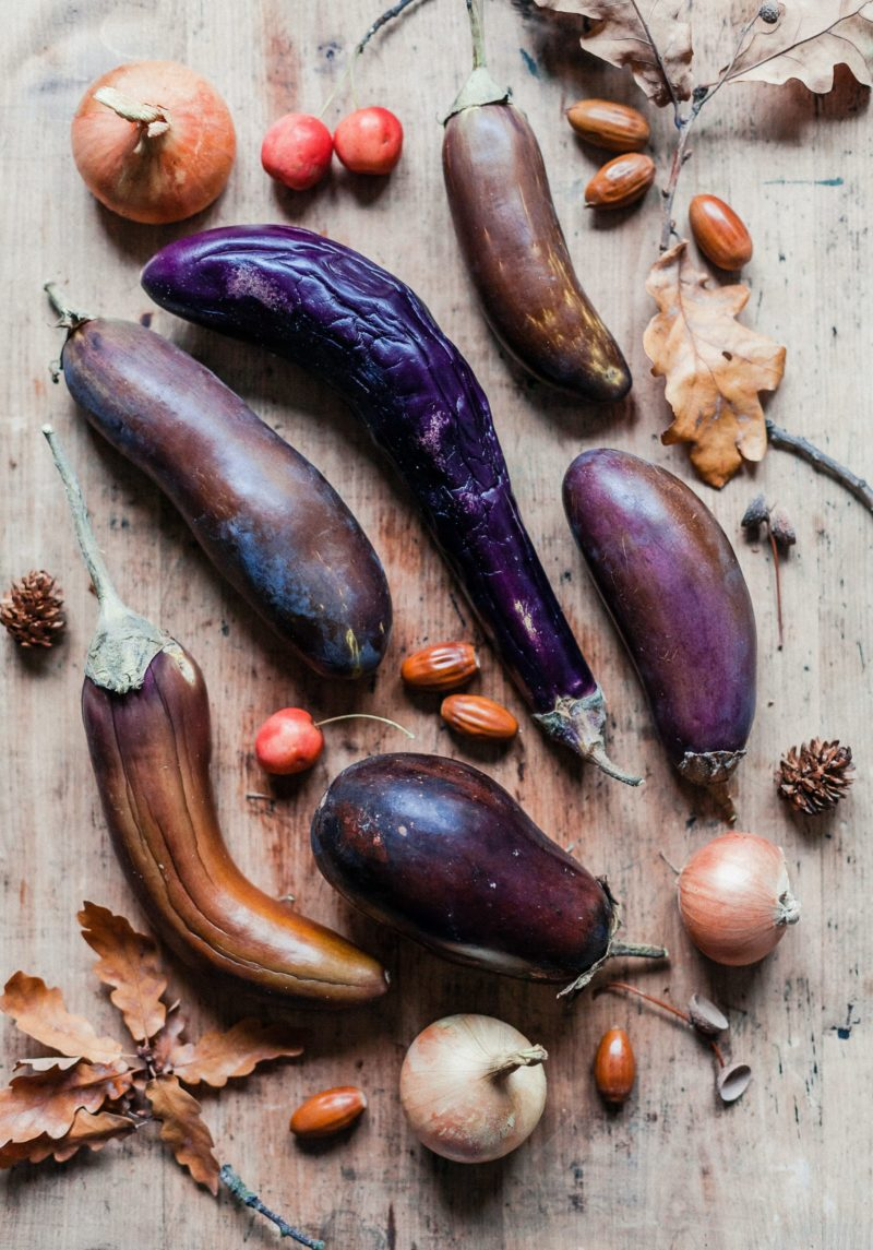 Various eggplant, nuts and leaves