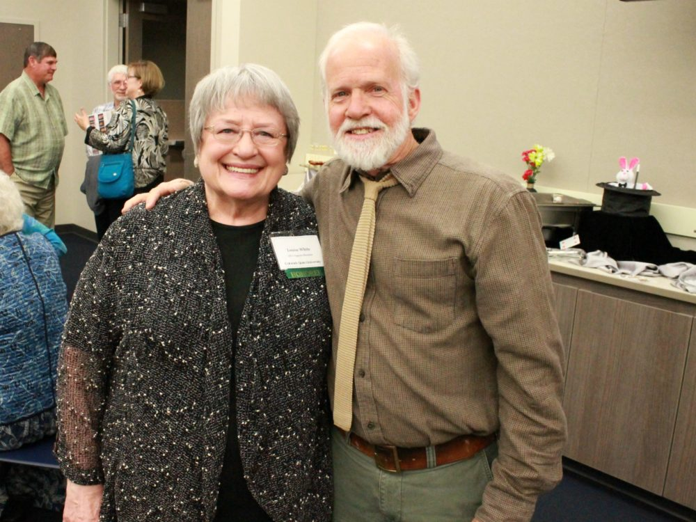 Louise White with faculty member David Greene