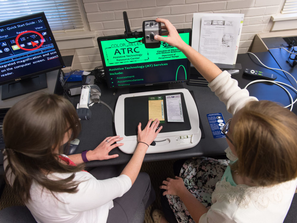 Students in ATRC lab using computer screen magnification