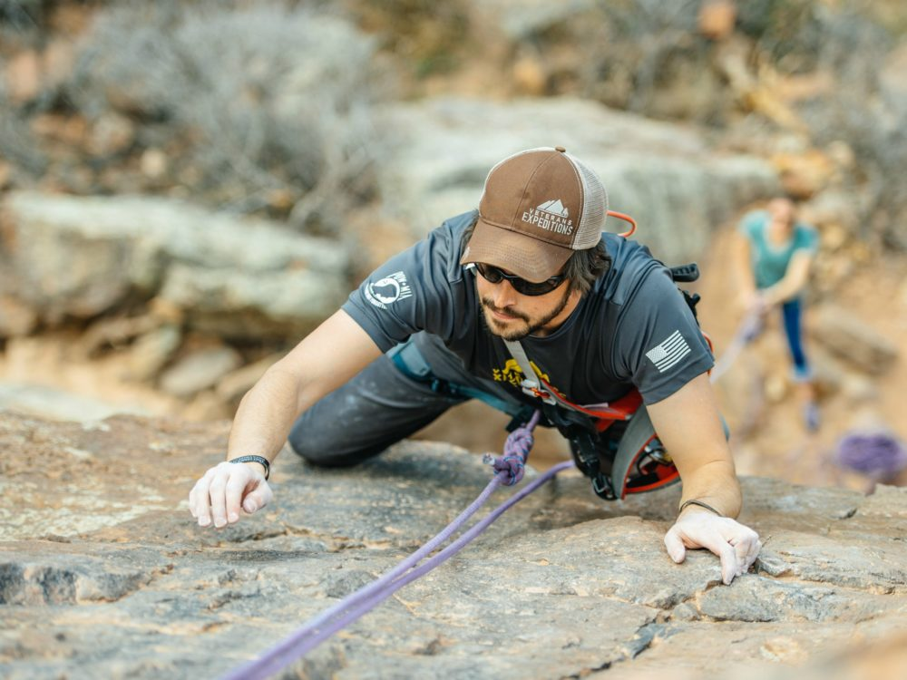 A climber at Horsetooth Reservoir
