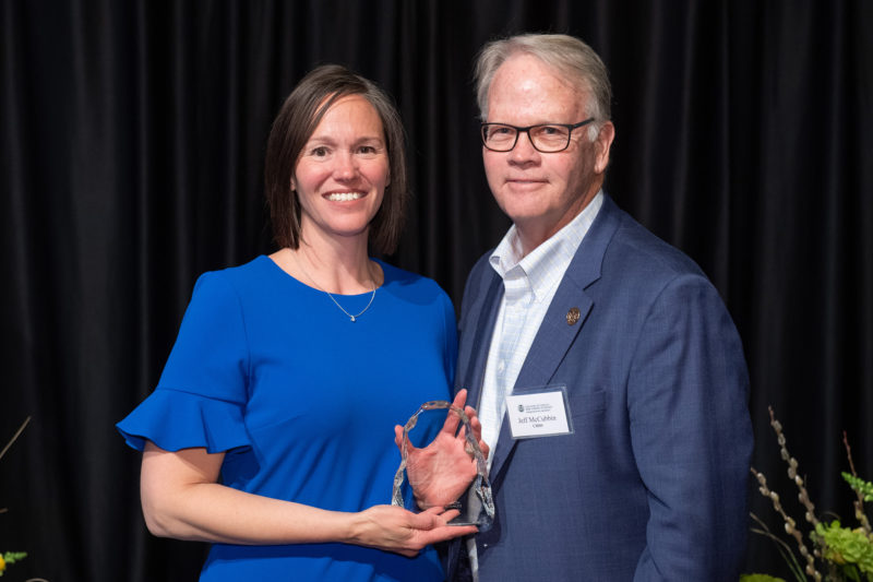 Christine Fruhauf, Human Development and Family Studies, is presented with the Outstanding Engagement award at the College of Health and Human Sciences 2019 All-College Awards Ceremony.